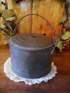 Rustic Country Primitive Antique Tin Berry Pail Lunch Pail Bucket Country Farmhouse Decor. $42.00, via Etsy.