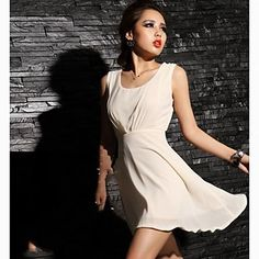 Women Backless Sexy Solid Color Sleevless Dress