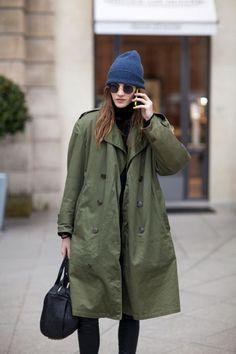 Street Style | Utilitarian khaki #fashion
