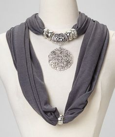 Take a look at this Gray Filigree Pendant Scarf by fantas-eyes on #zulily today!