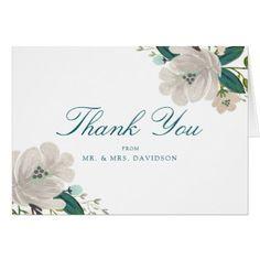 #wedding #thankyoucards - #Teal Blooms Wedding Thank You Card