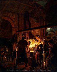 Joseph Wright of Derby, The Blacksmith's Shop 1771 Oil on canvas 50 x 41 inches x cm) Yale Center for British Art, Paul Mellon Fund Klimt, Renaissance, Blacksmith Shop, Oil Portrait, Classical Art, Sculpture, Blacksmithing, Dark Art, Light In The Dark