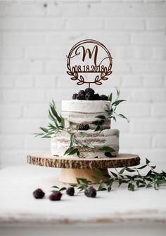 # diy wedding cake Monogram wedding cake topper with date, Initial wedding cake toppers, Unique wedding cake toppers, One Letter Cake Topper, Wedding Date Wedding Cake With Initials, Unique Wedding Cakes, Wedding Cake Designs, Unique Weddings, Cake Wedding, Wedding Blog, Wedding Advice, Wedding Ideas, Wedding Notes