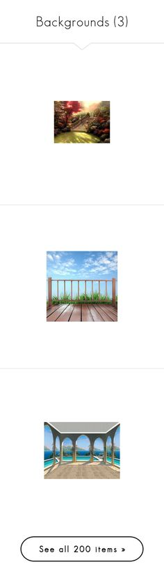 """""""Backgrounds (3)"""" by asia-12 ❤ liked on Polyvore featuring backgrounds, backgrounds 2, nature, sky, green, landscape, bridges, garden, pictures and filler"""