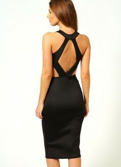 boo hoo Kate Cut Out Sides Backless Midi Bodycon Dress Sexy Dresses, Beautiful Dresses, Evening Dresses, Midi Dresses, Fashion Dresses, Lil Black Dress, Black Midi Dress, Dress Red, Clubwear