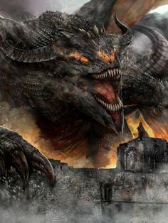 m Ancient Black Dragon male Castle Wall vs m Wizard Robes Cloak Shield Spell story urban City lg Fantasy Monster, Monster Art, Dark Fantasy Art, Fantasy Artwork, Fantasy Creatures, Mythical Creatures, Tiamat Dragon, Design Dragon, Cool Dragons