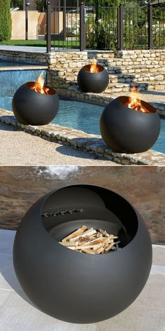 Bubble outdoor wood-burning fire pit with its ball-like appearance is what you'd want for the summer evenings and to beat the autumn chill. Outdoor Wood Burning Fireplace, Floating Fireplace, Outdoor Fireplace Designs, Fireplace Garden, Modern Outdoor Fireplace, Wood Fire Pit, Wood Burning Fire Pit, Fire Pit Area, Diy Fire Pit
