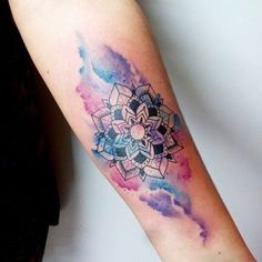 Ideas Tattoo Mandala Watercolor Ink For 2019 Watercolor Mandala, Watercolor And Ink, Watercolor Tattoo, Rose Tattoos, Body Art Tattoos, Sleeve Tattoos, Tatoos, Chakra Tattoo, Aquarell Tattoos