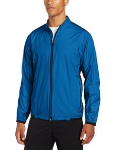 92773de10171fe Constructed from highly wind and water resistant fabric the Adidas mens  ClimaProof stretch golf jacket will
