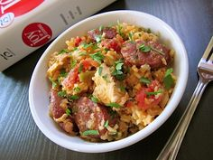 This jambalaya is a flavorful mix of rice, sausage, chicken, and southern spices and seasonings. Step by step photos.