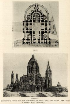 Plan and perspective of the competition design for the Cathedral of St. John the Divine, New York City   ARCHI/MAPS : Photo