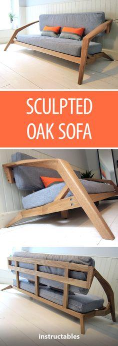 Sculpted Oak Sofa  #furniture #woodworking #decor