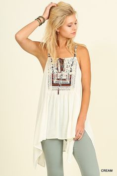 Sleeveless Tunic with Printed Straps and Embroider