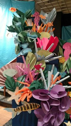 Deep Sea Discovery Ocean themed VBS decorations. Mostly just paper and a cardboard box. Coral reef....