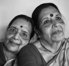 The author's mother (right) and her twin are a study in difference and identity.
