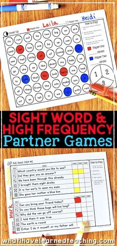 Sight Word Partner Games for High-Frequency Words • What I Have Learned Partner Reading, Student Reading, Teaching Reading, Word Reading, Teaching Spanish, 2nd Grade Reading Games, Reading Lessons, Close Reading, Guided Reading