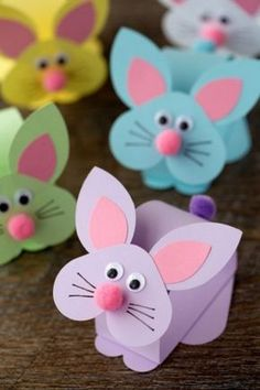 Paper Bobble Head Bunny Craft for Kids - Crafts for Kids to Make - Bunny Crafts, Paper Crafts For Kids, Easter Crafts, Craft Kids, Kids Diy, Craft With Paper, Children Crafts, Easter Projects, Craft Projects