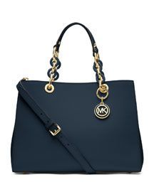 Michael Kors resort collection for spring. Medium Cynthia Saffiano Satchel in Navy. Love this!