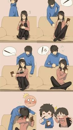 Cute Couple Drawings, Anime Couples Drawings, Anime Couples Manga, Cute Drawings, Manga Anime, Funny Anime Couples, Cute Couple Comics, Couples Comics, Cute Couple Art
