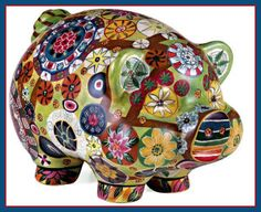 Imax Folk Art Multi Color Country Style Piggy Bank 18922 - Statues & Figurines - Home Decor & Accessories