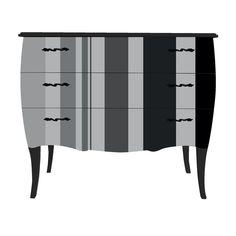 Petite commode à 3 tiroirs - Imprimé Larges rayures Verticales Noir - Print Baroque - Grey Stripes - Les commodes - Les commodes, chiffonniers et coiffeuses - Chambre - Décoration d'intérieur - Alinéa