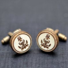 Sailor anchor Cufflinks - Vintage style acrylic cuff links - more amazing work here http://www.forthemanilove.com/gothicchic.html