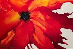 Alcohol Ink Art - Fire Flower by Pamella Radwan
