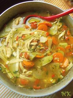 Mexican Chicken Noodle Soup with Chayotes HispanicKitchen.com