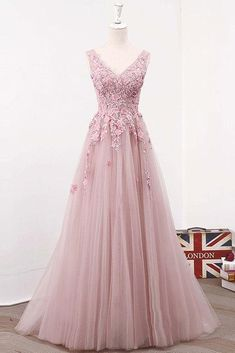 PINK V NECK TULLE LACE LONG PROM DRESS, PINK EVENING DRESS,122702