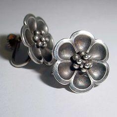 Vintage Georg Jensen Earrings 67 Sterling Silver Back