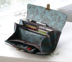 Smartphone wallet clutch  - deluxe edition -  in blues and browns - PREORDER