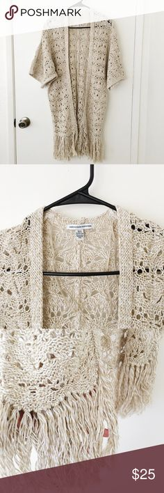 AEO crochet fringe kimono in oatmeal In perfect condition. Worn once. No fabric pulls last time I checked. No buttons. Fits XS-M. Message me for measurements.  Tags brandy melville American eagle forever 21 Charlotte Russe wet seal express American Eagle Outfitters Tops