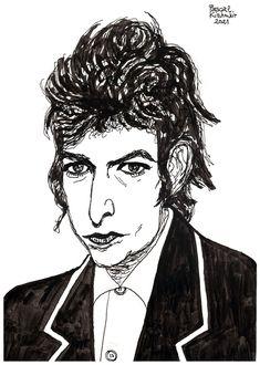 """Bob Dylan"", ink on paper, 29,7 cm x 21 cm ...... ボブ・ディラン Bob Dylan, Joker, Portraits, Ink, Fictional Characters, Head Shots, The Joker, India Ink, Portrait Photography"