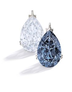 Bunny Mellon's jewelry collection, which will be auctioned by Sotheby's New York on 20 November 2014, includes two platinum mounted blue diamond pendants. One is an important 9.15ct Fancy Blue diamond, left, and the other a magnificent and rare 9.74ct Fancy Vivid Blue diamond (estimate: $1-1.5 million and $10-15 million respectively).