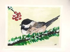 Chickadee Hand Painted Holiday Card, Christmas or Winter, Cute winter bird…