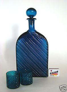 rare-NANNY-STILL-60er-Glas-Karaffe-Flindari-Glass-Decanter-Riihimaeki-Finland-60s Hearth And Home, Duck Egg Blue, Vintage Glassware, Decanter, Midcentury Modern, Be Still, Finland, Vodka Bottle, Retro Vintage