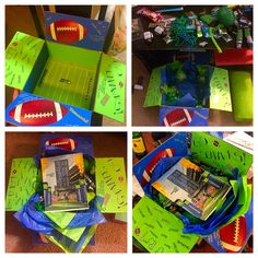 Seattle Seahawks Deployment package.  Included: snacks,gum, & candy all in blue & green. A little green football, blue & green beads and streamers for game day, a Seahawks dammit doll, Seahawks sticker and little football guy. A printed schedule and skittles of course. This package was soooo much fun to make and he loved it.