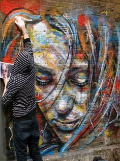 Artist David Walker creates female portraits that are layered with color, motion, and emotion.He started painting three years ago and has bu. David Walker, Spray Paint Art, Spray Painting, Painting Art, Street Painting, Amazing Street Art, Amazing Art, Amazing Paintings, Graphic 45