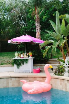 Poolside party, flamingo pool float, cabana, diy pool bar with umbrella, pool party entertaining summer party Tropical Bridal Showers, Beach Bridal Showers, Bridal Shower Games, Bridal Shower Decorations, Bridal Shower Invitations, Flamingo Party, Flamingo Float, Flamingo Beach, Palm Springs Pool Party