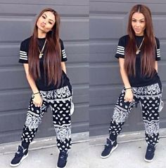 Dope outfit w/ the oreos. Been looking for these bandana pants and there always sold oiyc swag Hip Hop Fashion, Fashion Mode, Dope Fashion, Fashion Killa, Urban Fashion, Teen Fashion, Fashion Outfits, Womens Fashion, Fashion Hair