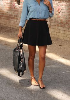 Chambray shirt black skirt