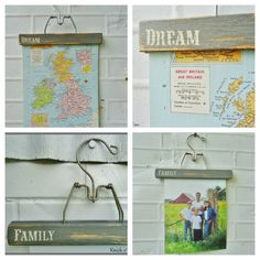 Wooden Photo Display Hangers - would be great for kids artwork in a playroom!
