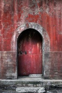 red door on red wall