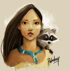 Pocahontas by Poledrey on deviantART-almost looks like tween yrs for her and baby years for meeko = super adorable! Walt Disney, Disney Pixar, Deco Disney, Disney Fan Art, Cute Disney, Disney Animation, Disney And Dreamworks, Disney Cartoons, Disney Magic