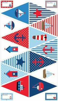 Ideas for baby shower decoracion marinero birthday party ideas Sailor Birthday, Sailor Party, Sailor Theme, Nautical Bunting, Nautical Party, Bunting Flags, Buntings, Baby Shower Marinero, Diy And Crafts