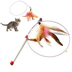 Gowind7 Pet Cat Wand Pet Kitten Cat Teaser Replacement Refill Plush with Bell Colorful 5Pcs