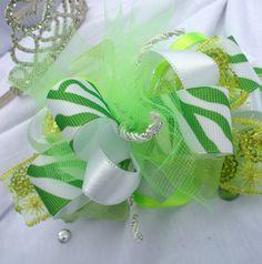 Lovely Lime Zebra Diva Dazzle Bow - Girls Boutique Hair Bow - Zebra, Lime Green, White, Summer, Back to School