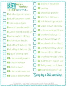 31 Days to a Clean House + FREE Printable