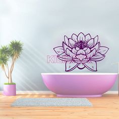 Stickers Lotus Flower Vinyl Wall Sticker Decals Wallpaper for Living Room Mural Wall Art Home Decor Fresco House Decoration