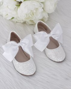 205 best kailee p shoes flower girl shoes images on pinterest in girls shoe white rock glitter maryjane flats with white satin bow mightylinksfo